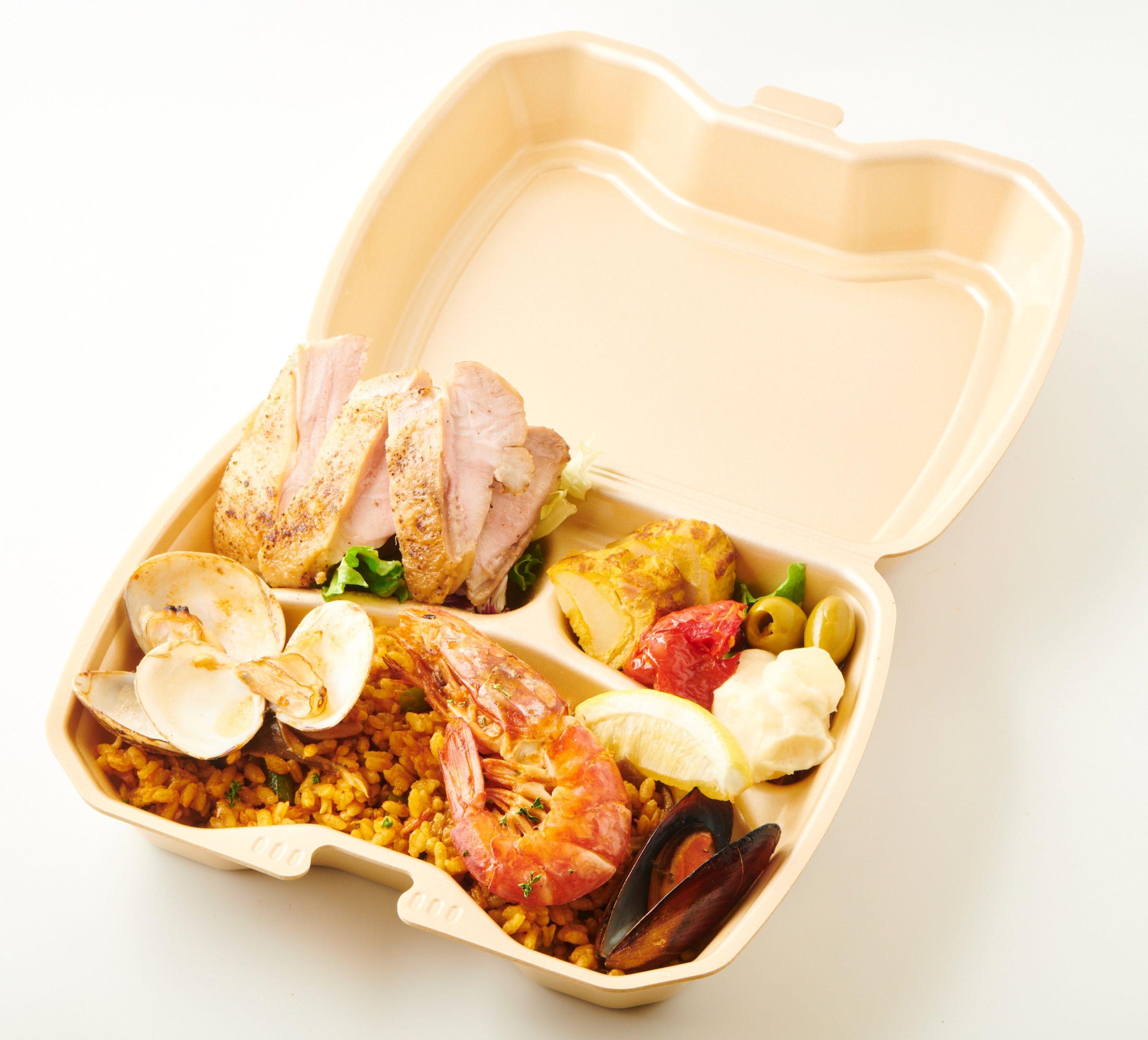 魚介のパエリアと桜姫鶏のステーキ弁当