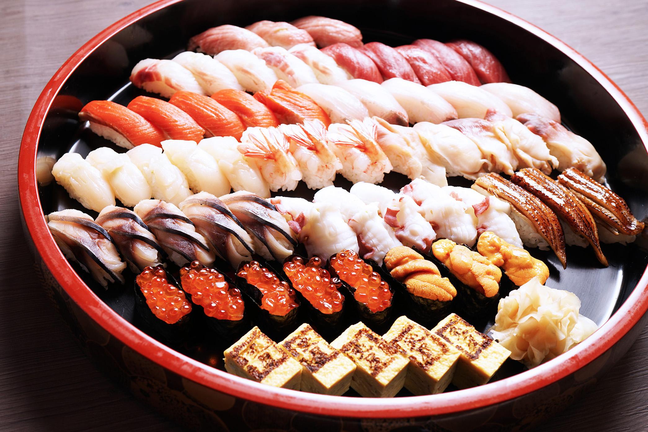 炙屋寿司桶盛り 全 62貫