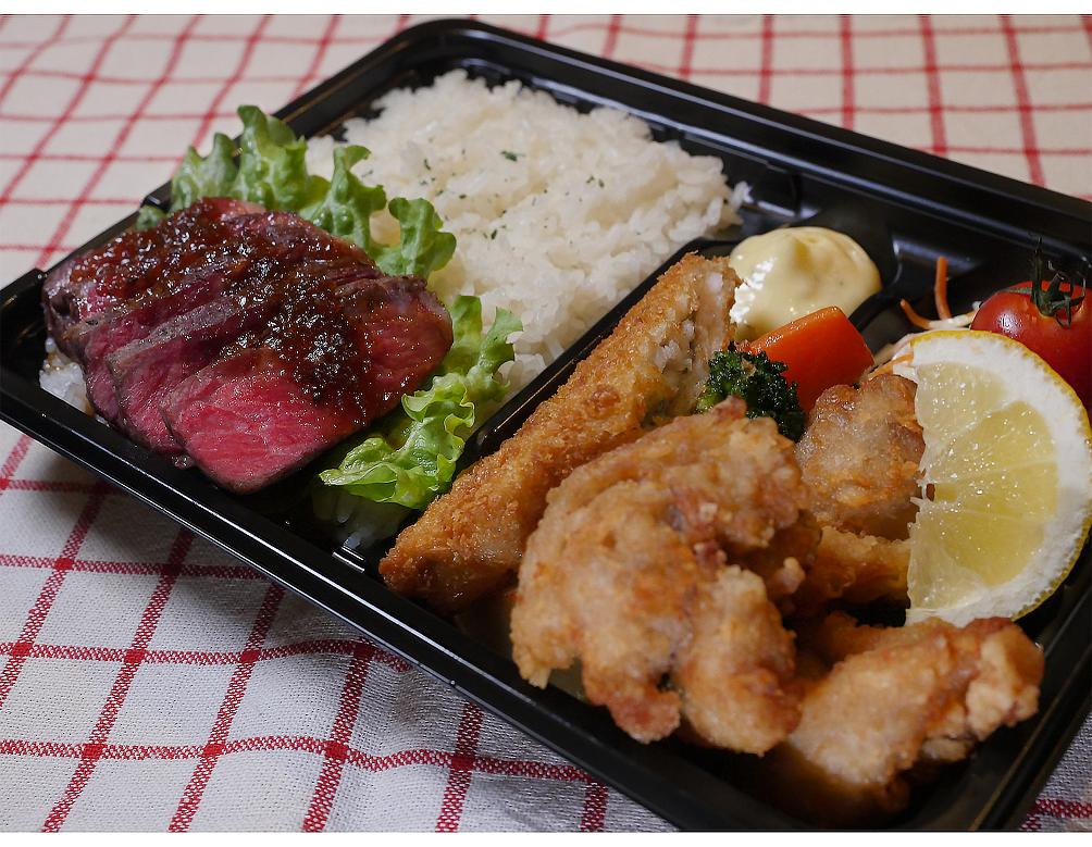 ・ザンギ&ステーキ弁当  (白米or十五穀米)