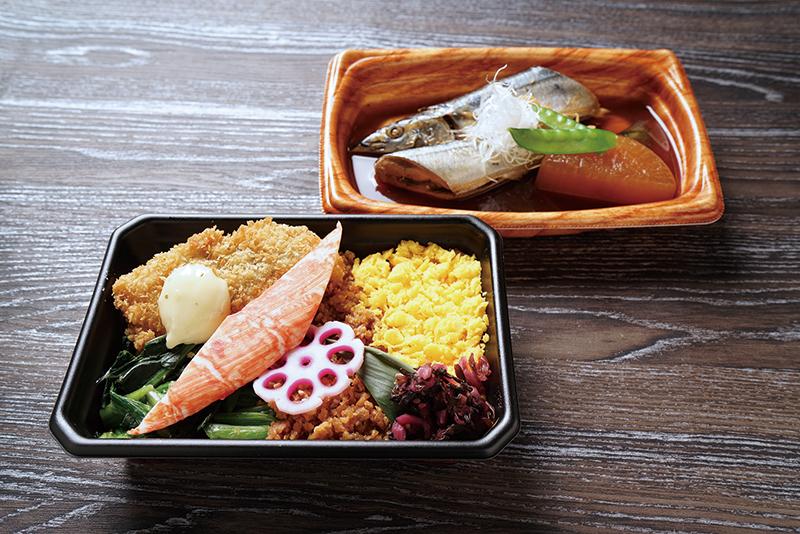 秋刀魚の旨煮と三色そぼろ弁当