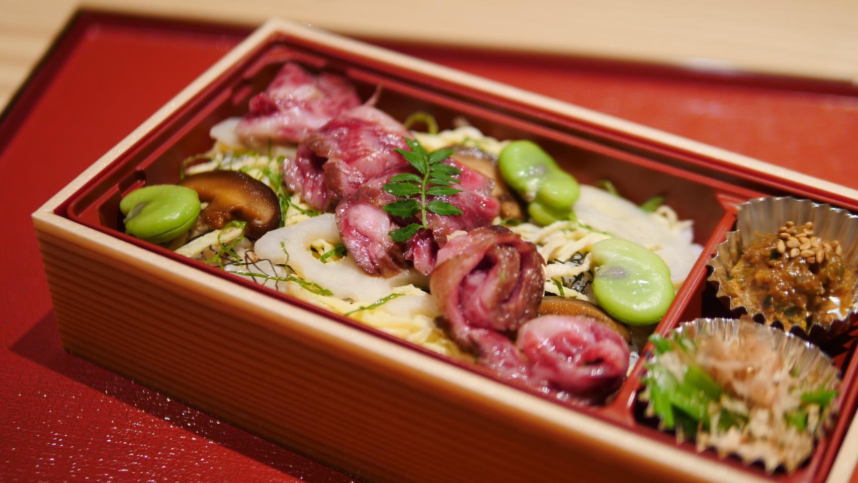 道産和牛 特上ハラミとそら豆の肉ちらし弁当