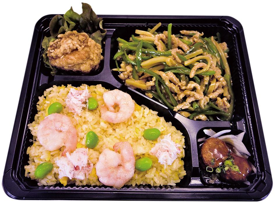 チンジャオロースと海鮮炒飯の贅沢弁当