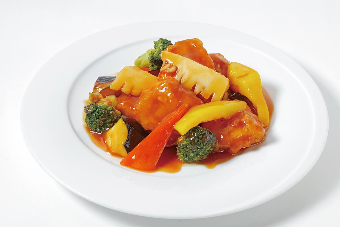 彩野菜と豚肉の酢豚