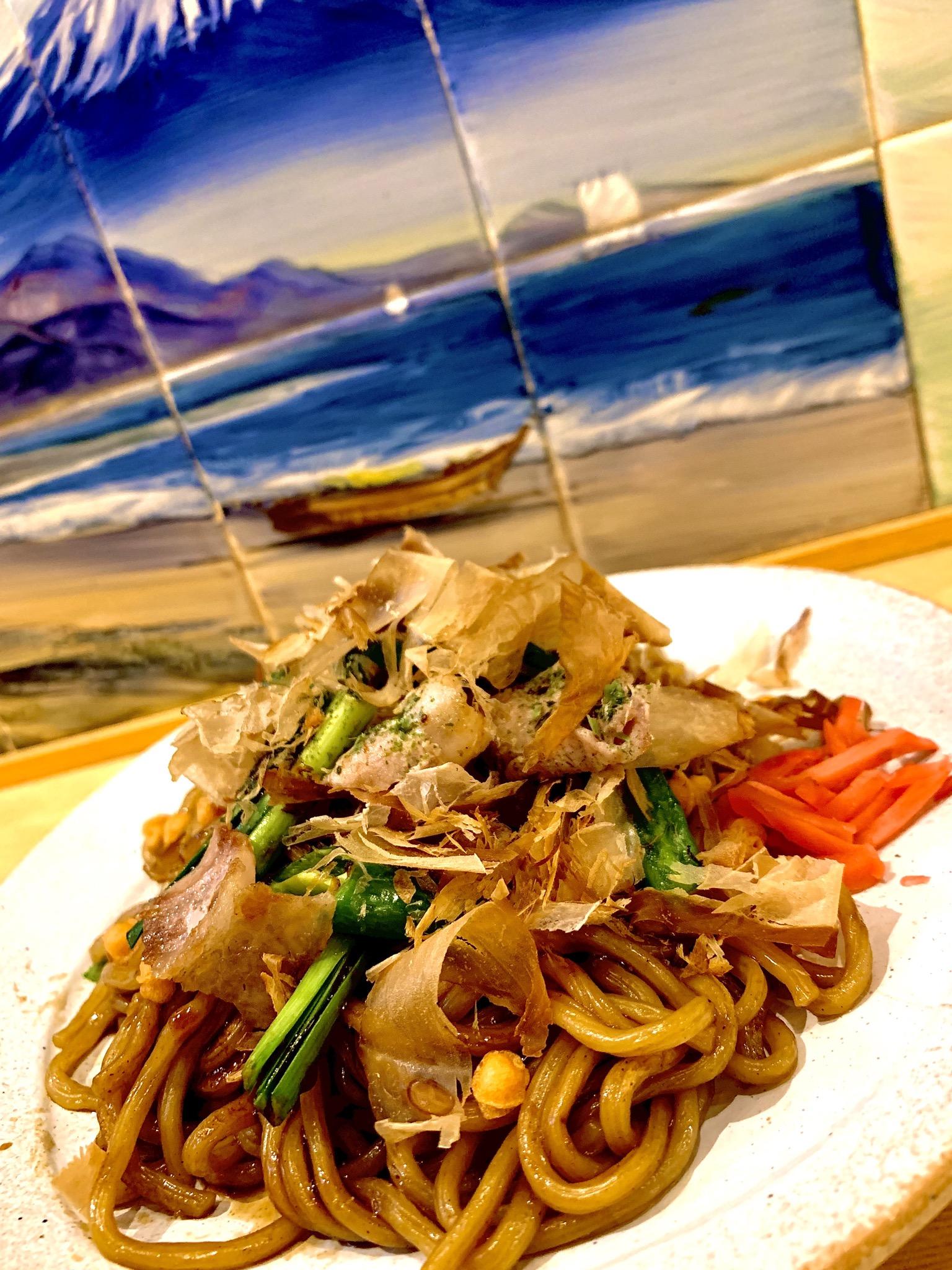 太麺で作る海老焼きそば