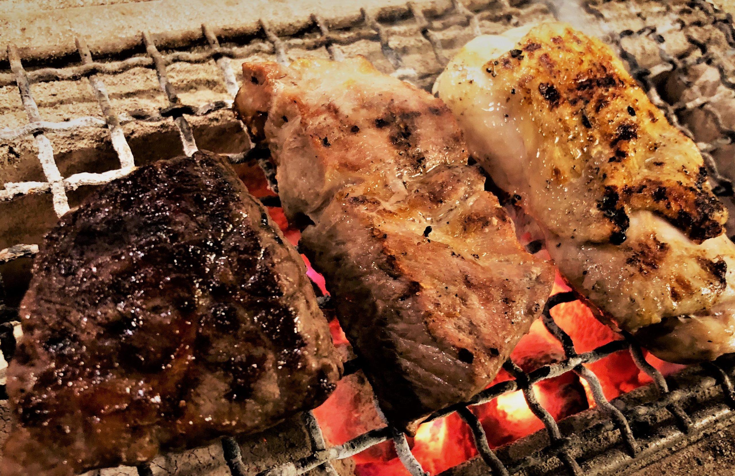 サチク麦王豚肩ロースの炭火焼き
