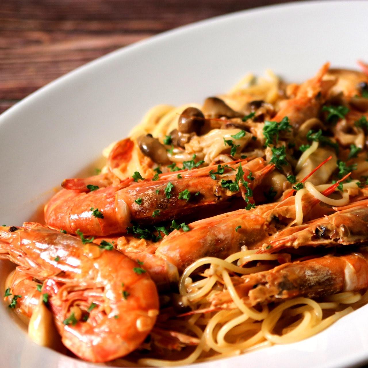海老ときのこのトマトクリームスパゲッティ