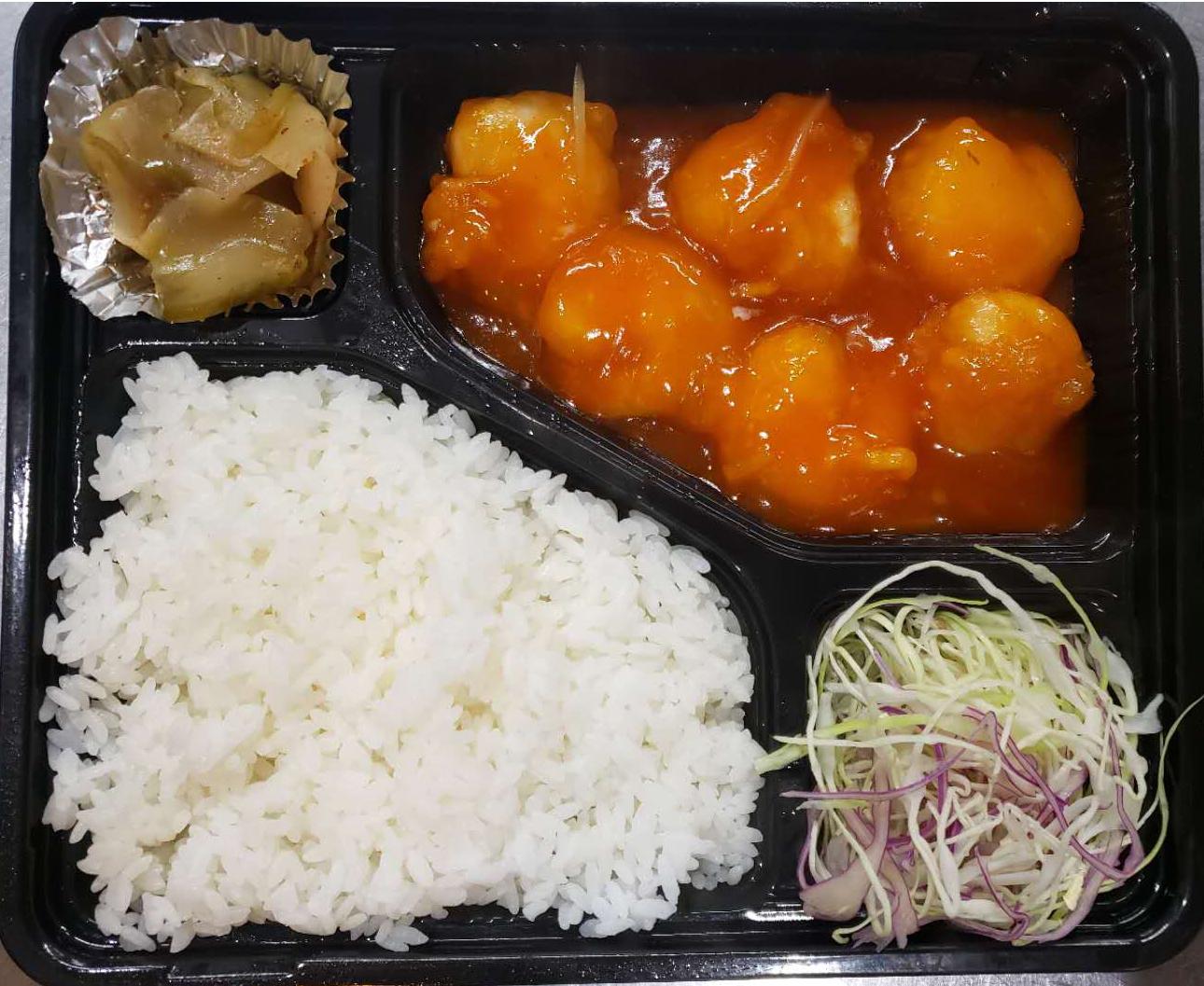 エビチリ弁当(XOイカ炒め、海の幸炒め、牛肉オイスターソース炒め、豚ホルモンに変えられます)