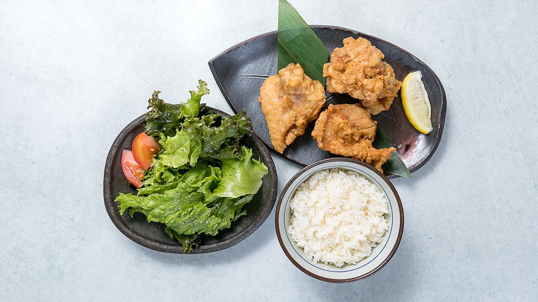 鶏KINGの塩ザンギ3ピース&ライスセット